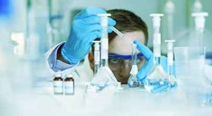 scientist working close up on a formulation project
